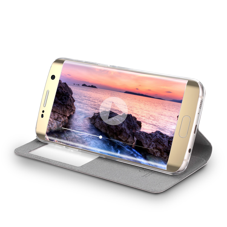 Flip-Case-Samsung-S6-Edge-Magnet-Fenster-Cover-Aufstellbar-Staender-Huelle-Etui Indexbild 10